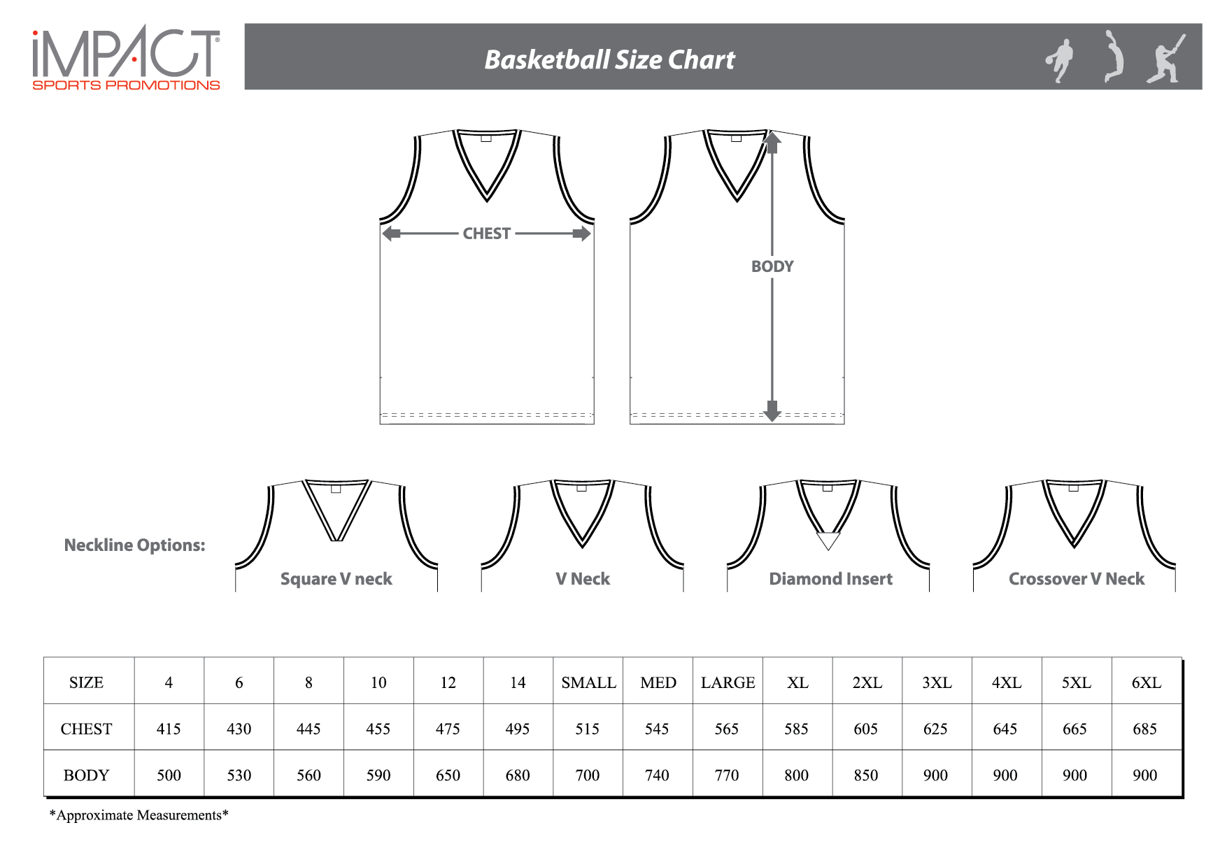 Impact SP Basketball Size Chart