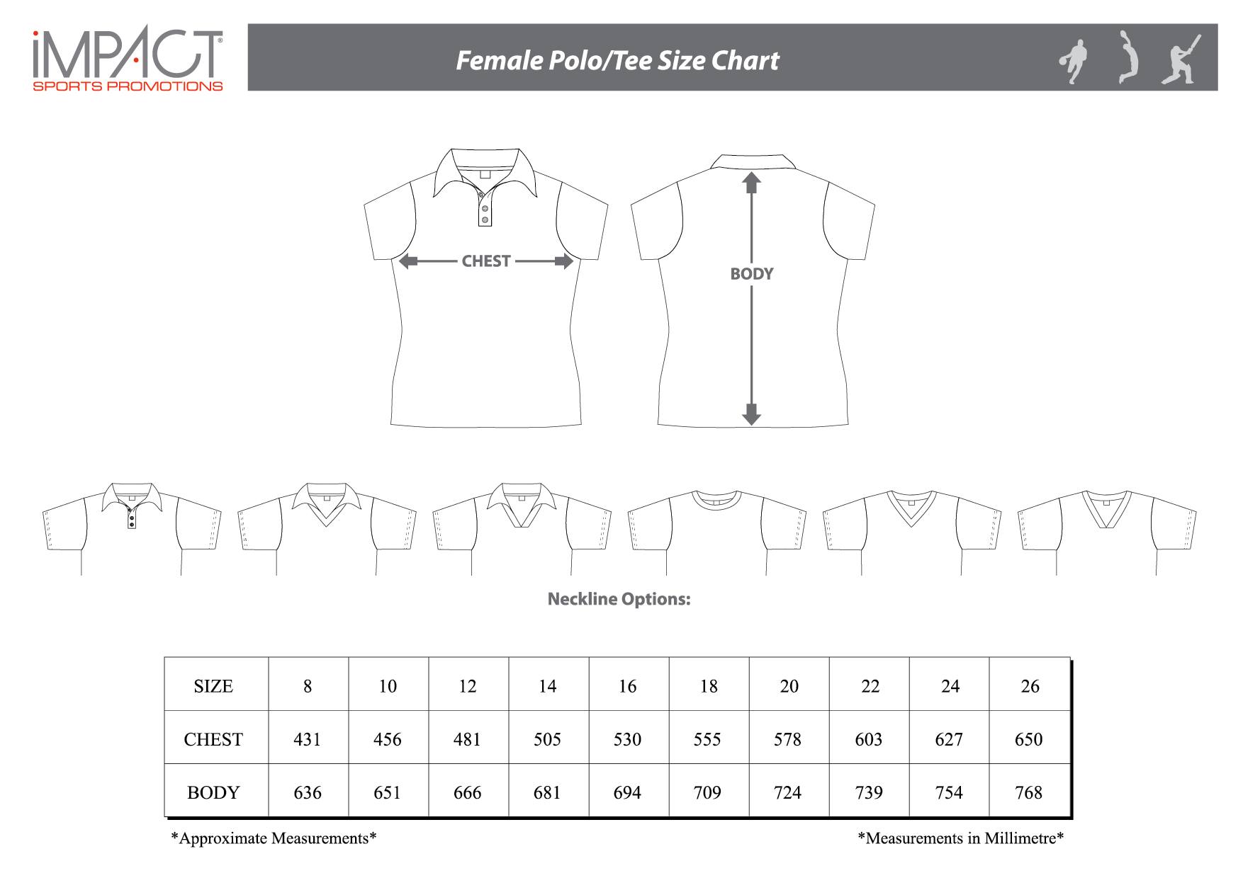 Impact SP Female Polo Tee Size Chart