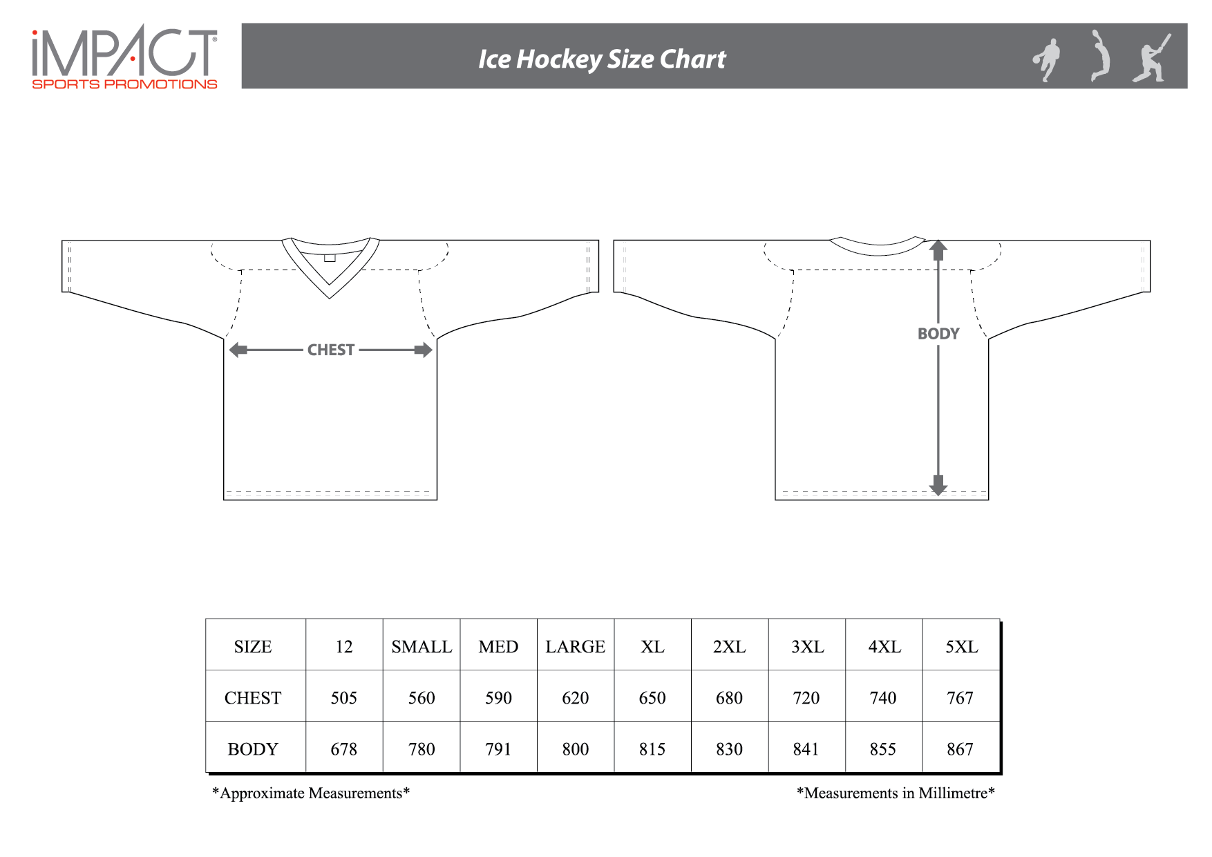 Impact SP Ice Hockey Size Chart